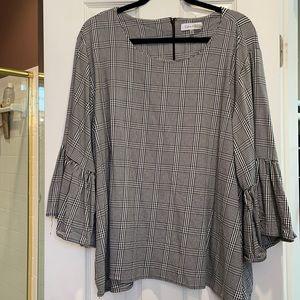 3x Calvin Klein plaid 3/4 ruffled sleeves shirt